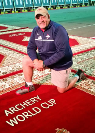 Photo of Coach Phil Graves at Archery World Cup event